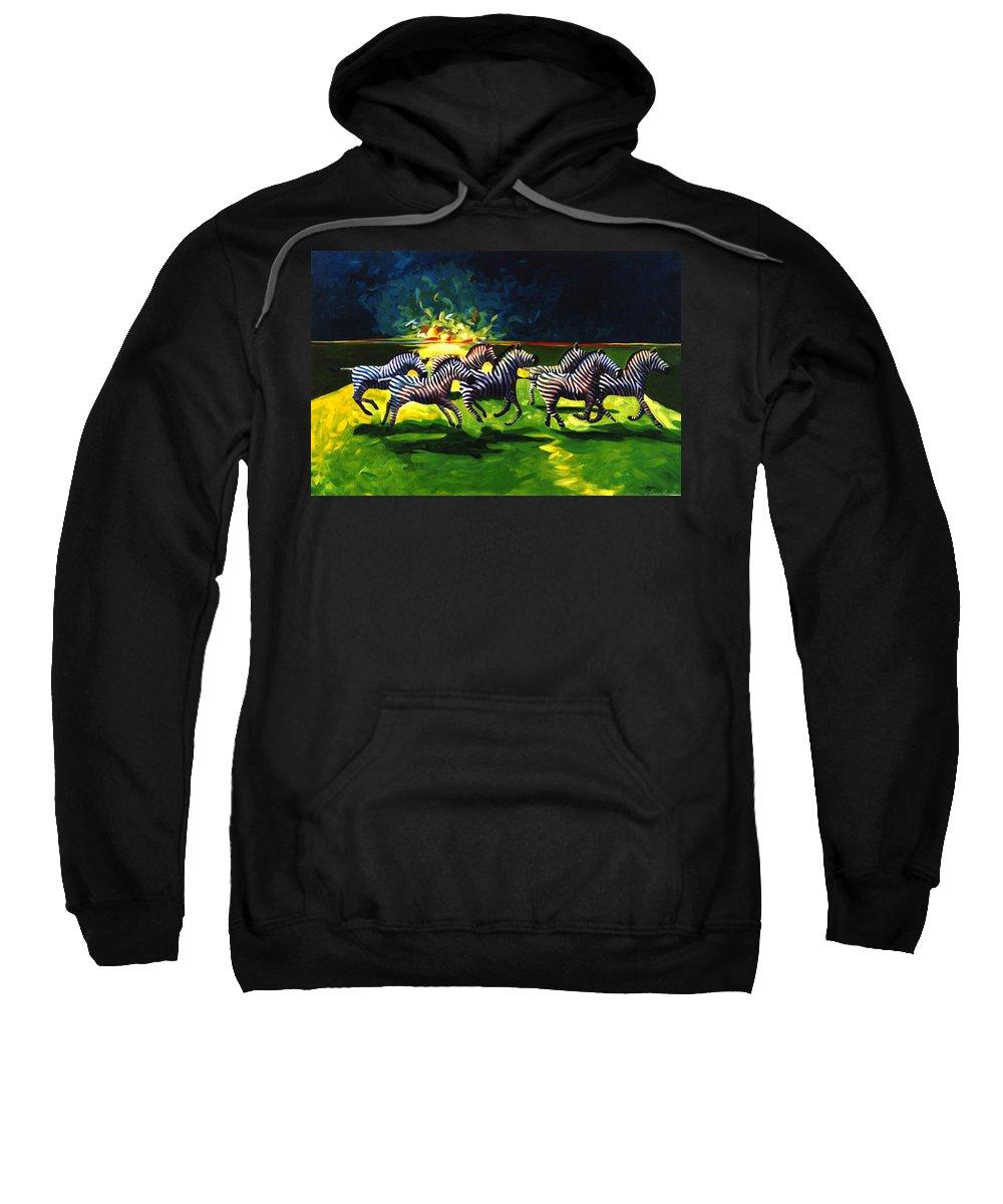 Modern Sweatshirt featuring the painting Zebz by Lance Headlee