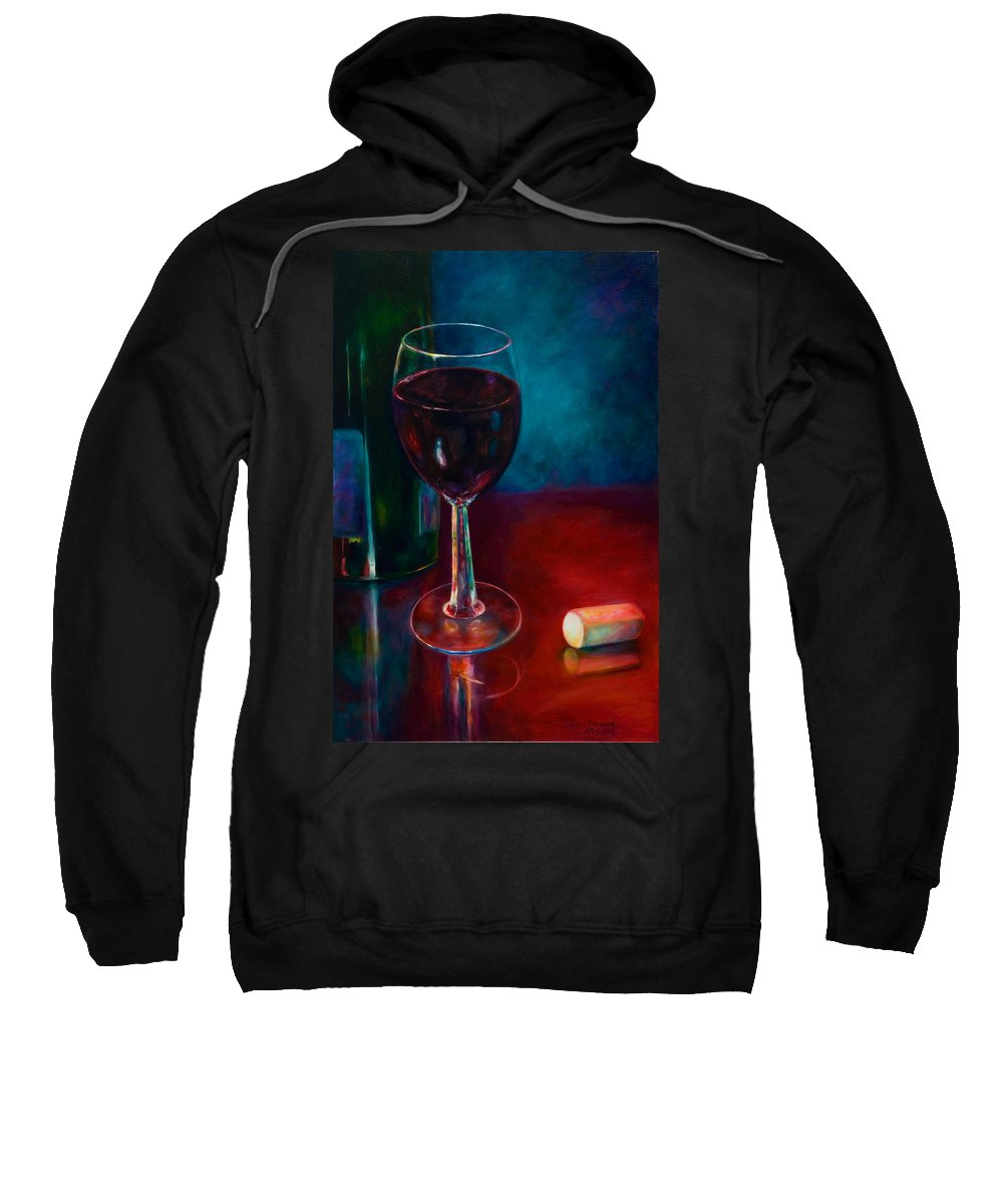 Wine Bottle Sweatshirt featuring the painting Zinfandel by Shannon Grissom