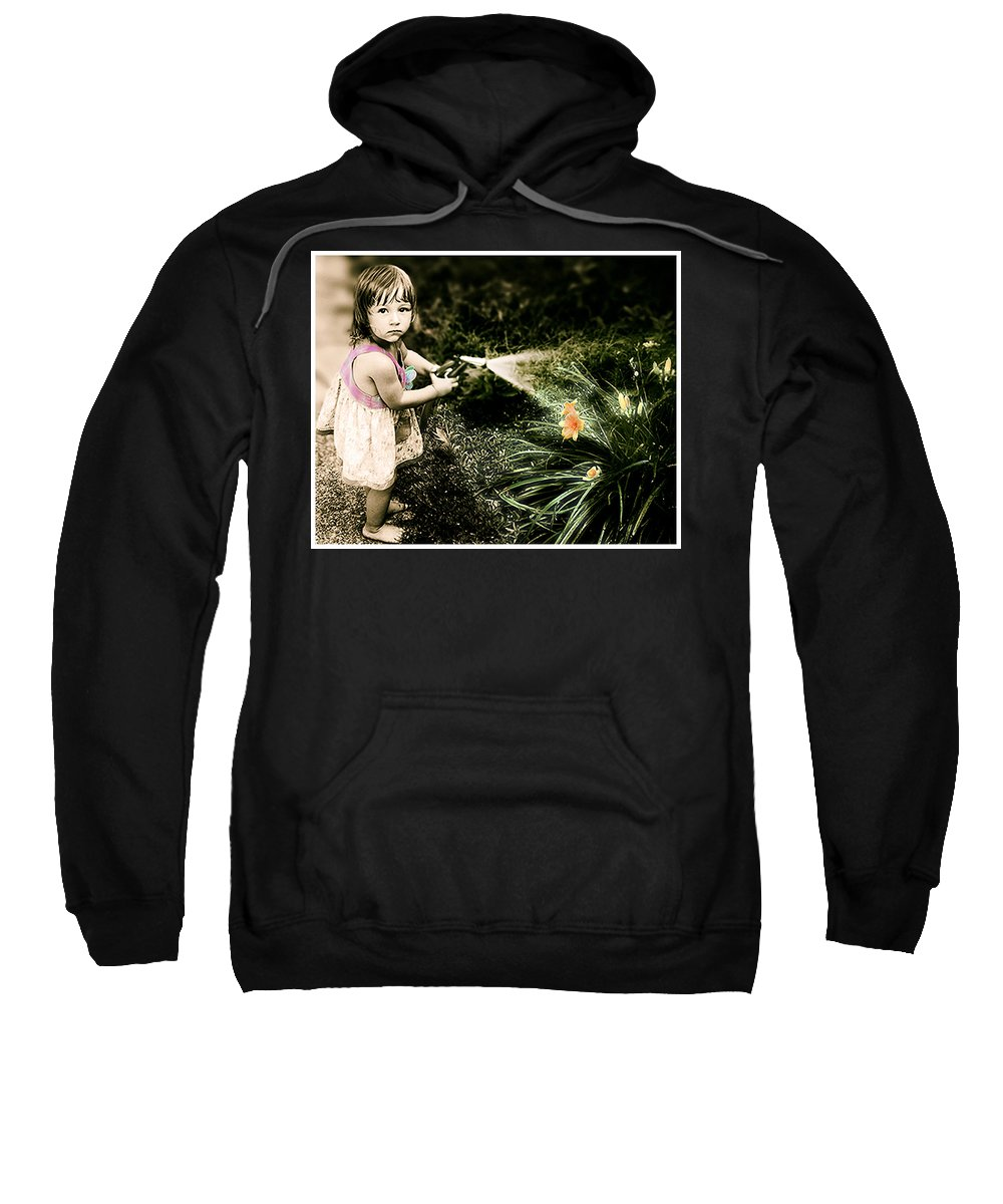 Children Sweatshirt featuring the photograph Zoe Waters The Flowers by Karen W Meyer