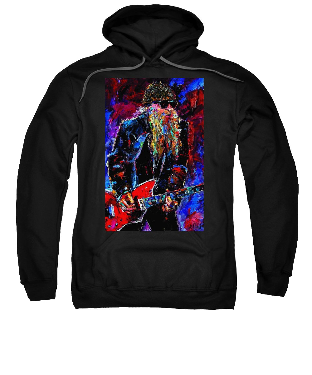 Music Sweatshirt featuring the painting Zz Top Billie Gibbons by Debra Hurd