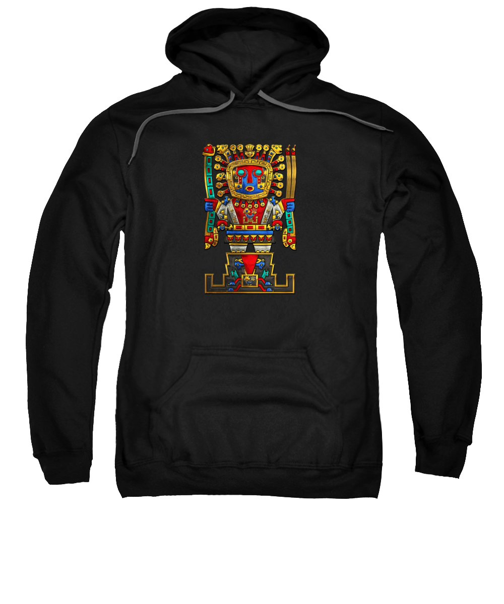 'treasures Of Pre-columbian America' Collection By Serge Averbukh Sweatshirt featuring the photograph Incan Gods - The Great Creator Viracocha On Black Canvas by Serge Averbukh