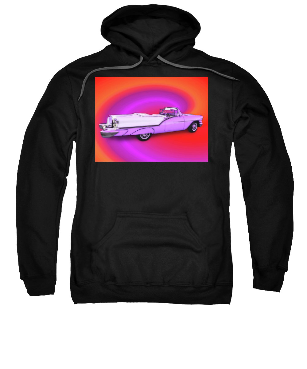 1957 Oldsmobile 98 Starfire Sweatshirt featuring the digital art 1957 Oldsmobile 98 Starfire by Rick Wicker