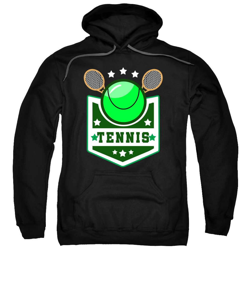 Christmas Sweatshirt featuring the digital art Tennis Player Tennis Racket I Love Tennis Ball by TeeQueen2603