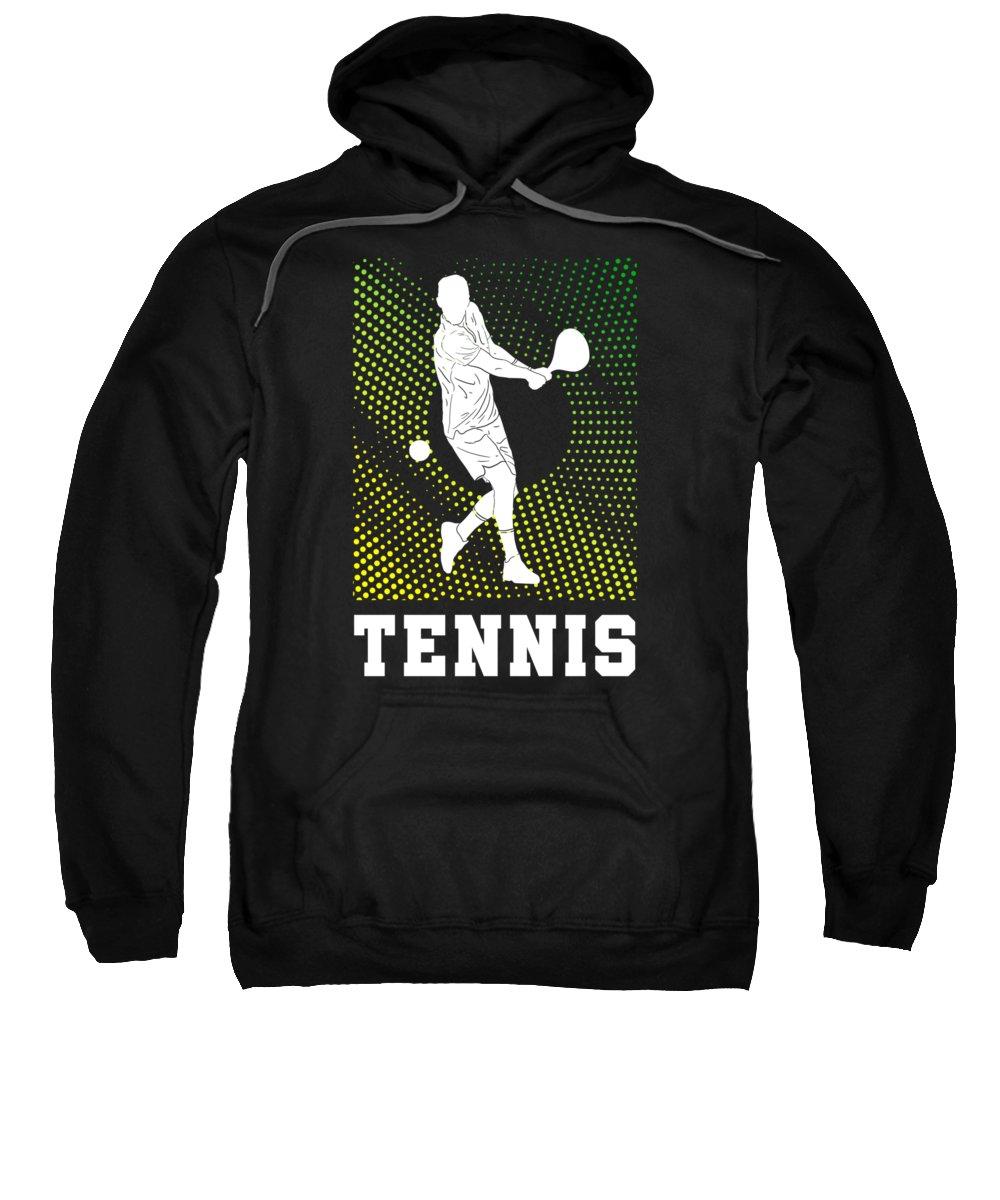 Christmas Sweatshirt featuring the digital art Tennis Player Tennis Racket I Love Tennis Ball by TeeQueen2603