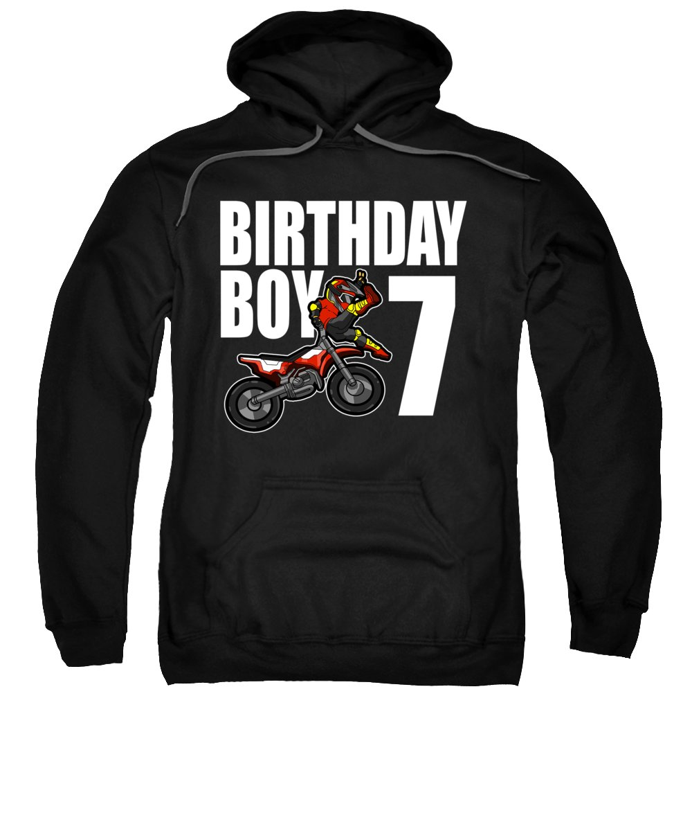 7th Birthday Sweatshirt featuring the digital art 7 Years Old Dirt Bike Party Motocross Mx Gift 7th by J M
