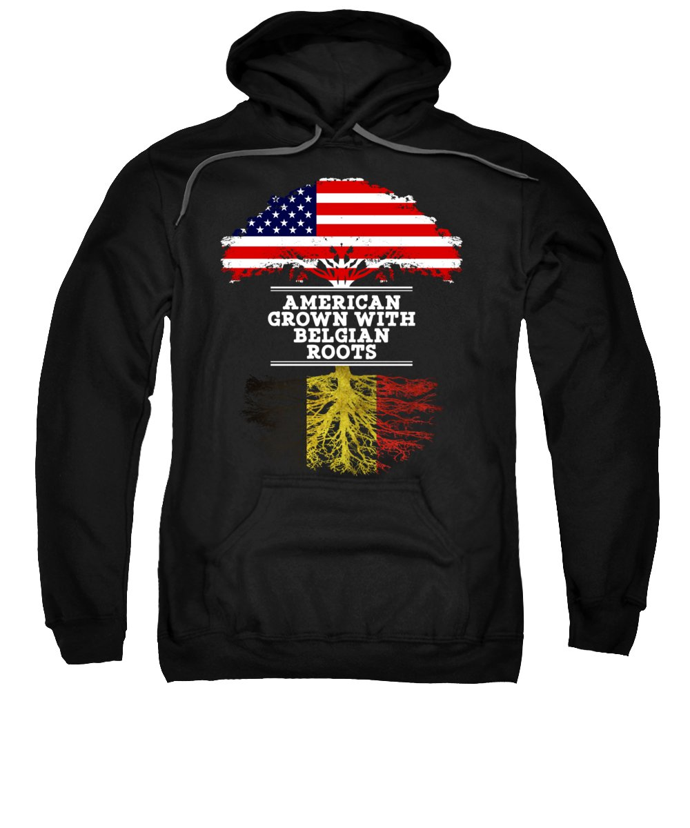 Christmas Sweatshirt featuring the digital art American Grown With Belgian Roots by Jose O