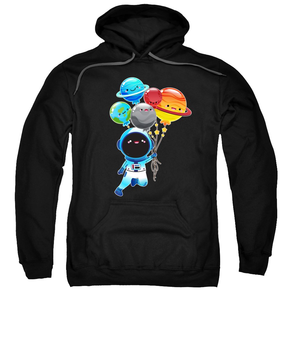 Space Sweatshirt featuring the digital art Astronaut With Planet Balloons Outta Space by Soju And Sake