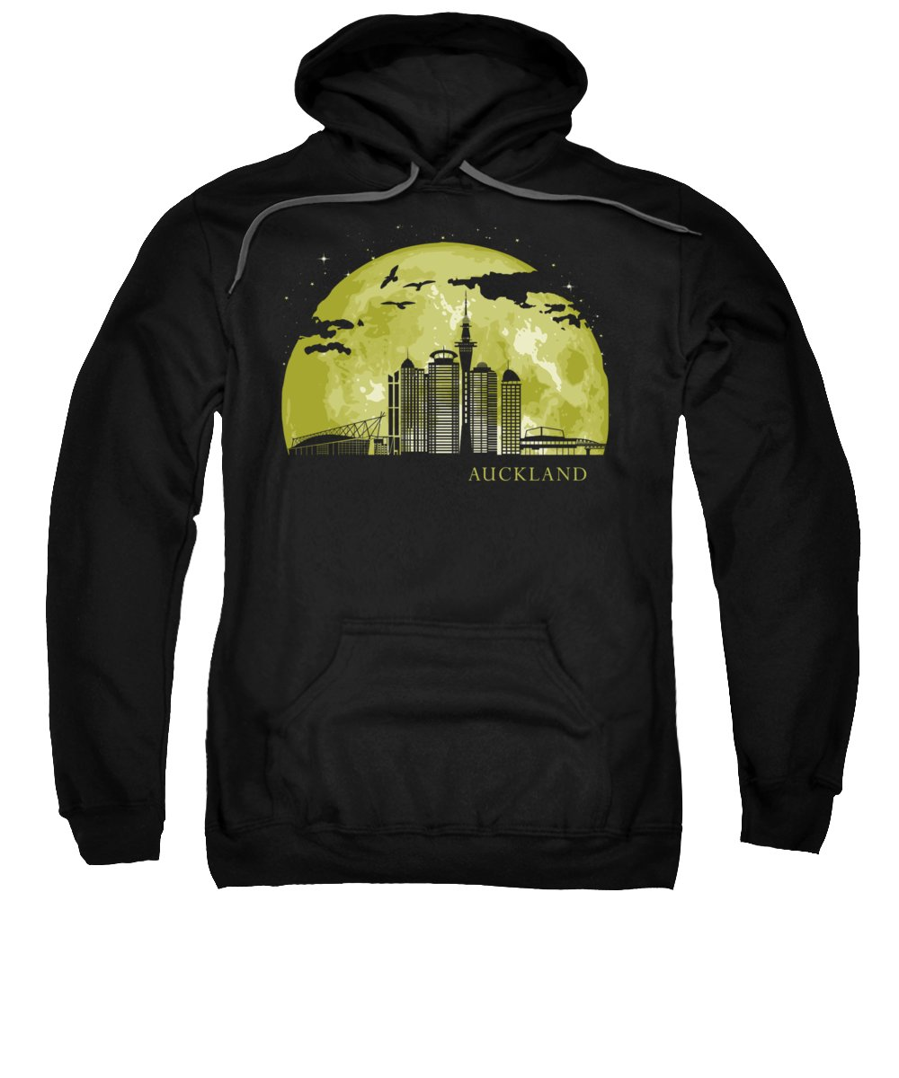 Zealand Sweatshirt featuring the digital art Auckland Moon Light Night Stars Skyline by Filip Hellman