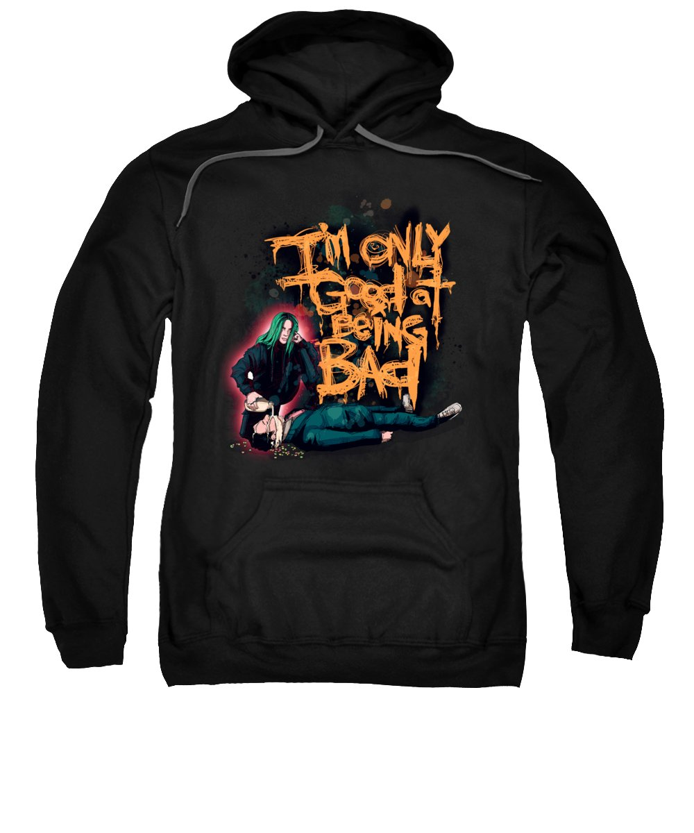 Billie Sweatshirt featuring the drawing Bad Guy by Ludwig Van Bacon
