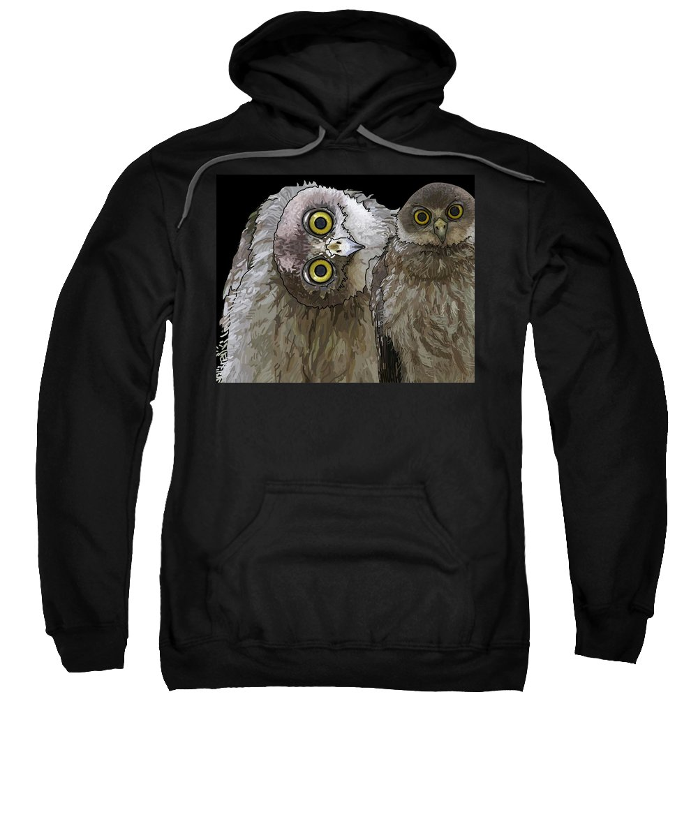 Stratton Sweatshirt featuring the digital art Barking Owls 2 by Joan Stratton