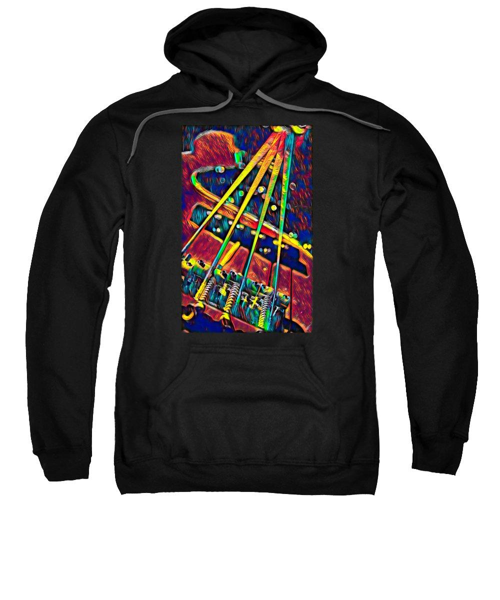 Little-dog Sweatshirt featuring the digital art Bass Guitar Musician Player Metal Rock String by Super Katillz
