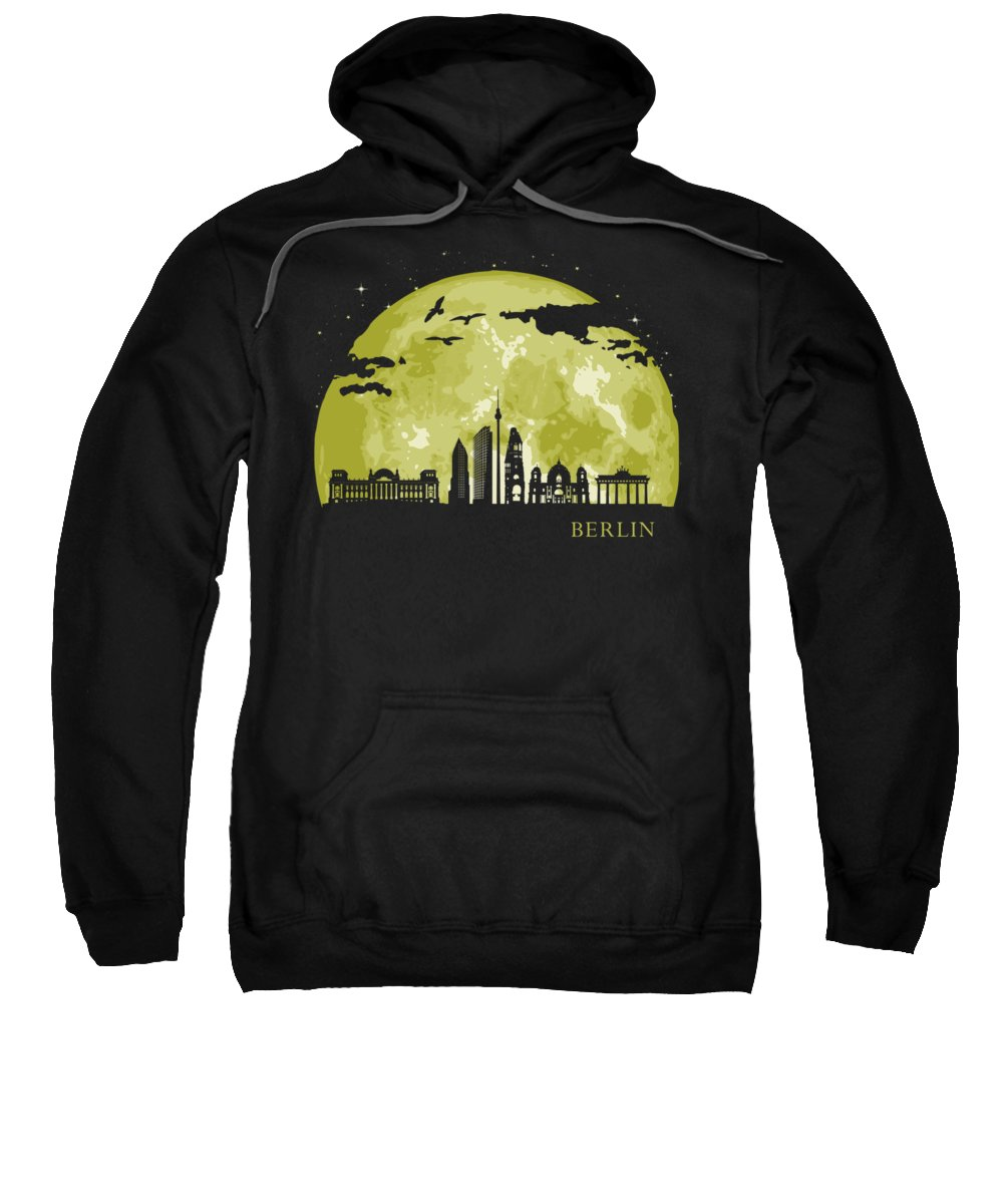 Deutchland Sweatshirt featuring the digital art Berlin Moon Light Night Stars Skyline by Filip Hellman