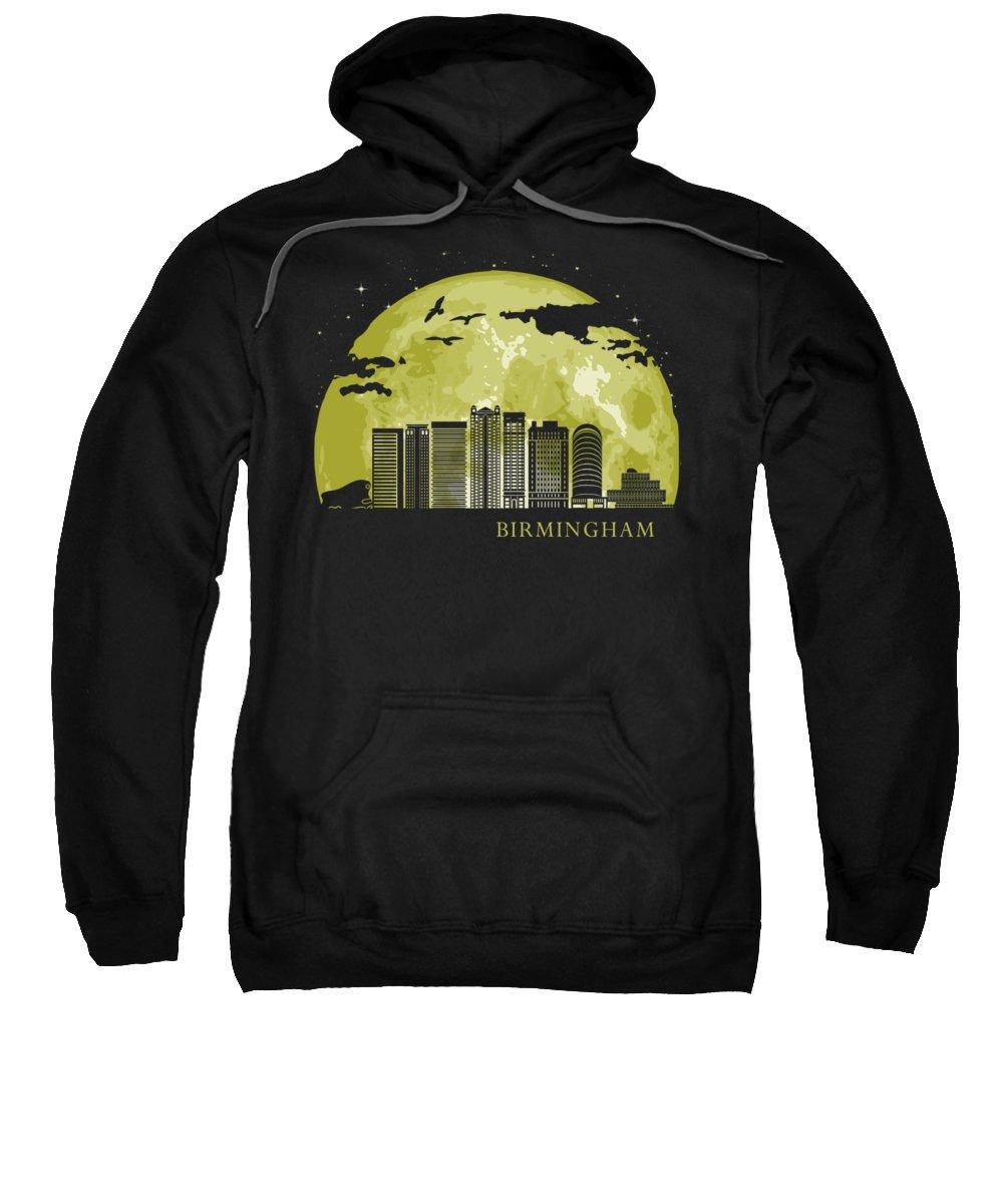 Birmingham Sweatshirt featuring the digital art Birmingham England Moon Light Night Stars Skyline by Filip Hellman