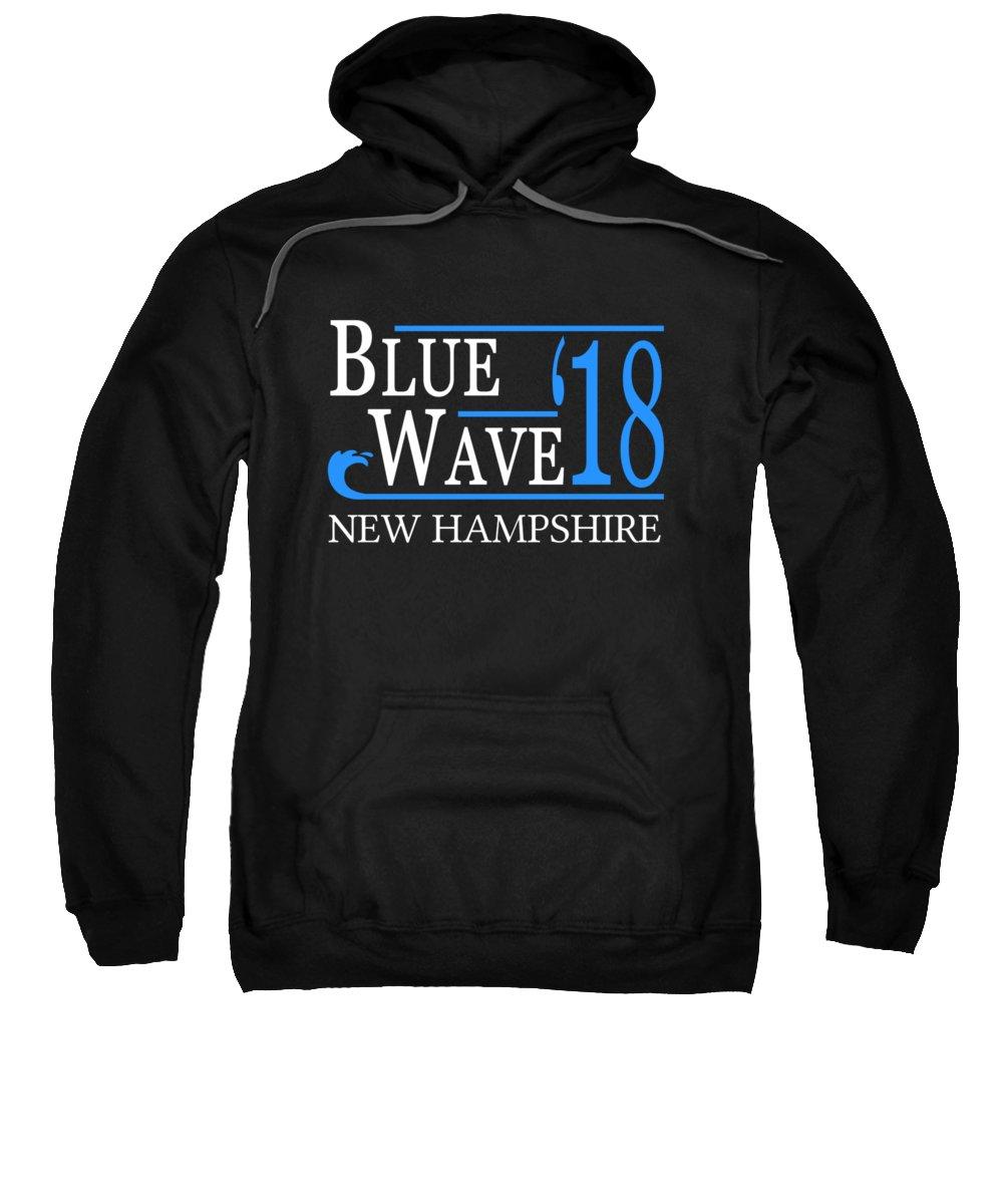 Election Sweatshirt featuring the digital art Blue Wave New Hampshire Vote Democrat 2018 by Flippin Sweet Gear