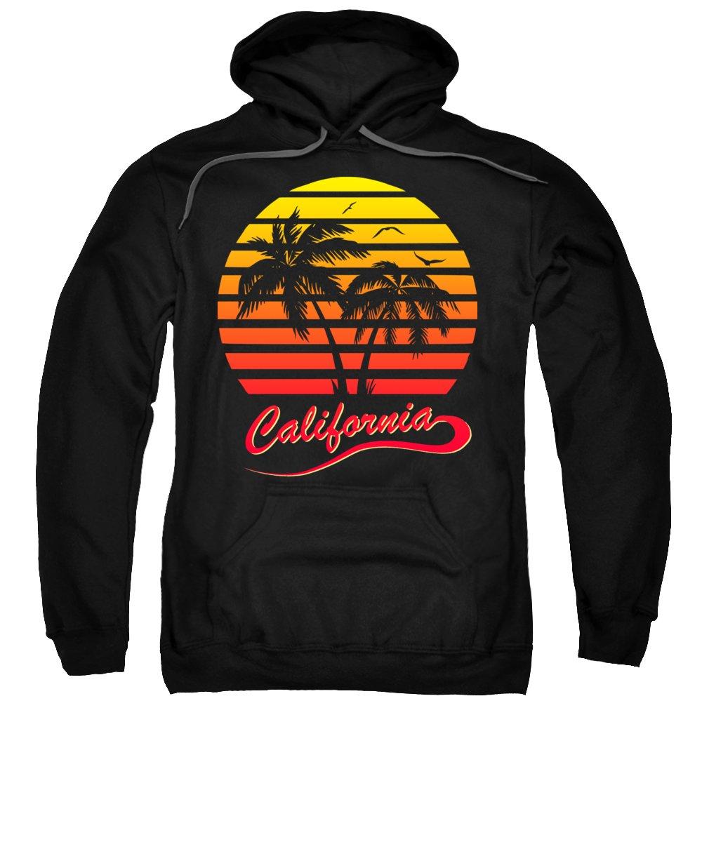 California Sweatshirt featuring the digital art California Sunset by Filip Schpindel