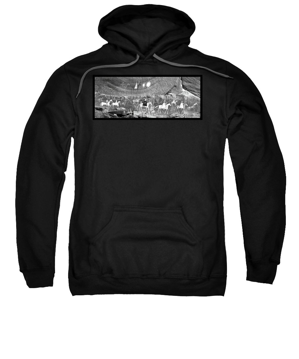 Southwest Usa Sweatshirt featuring the photograph Canyon De Chelley Pictographs by Alan Toepfer