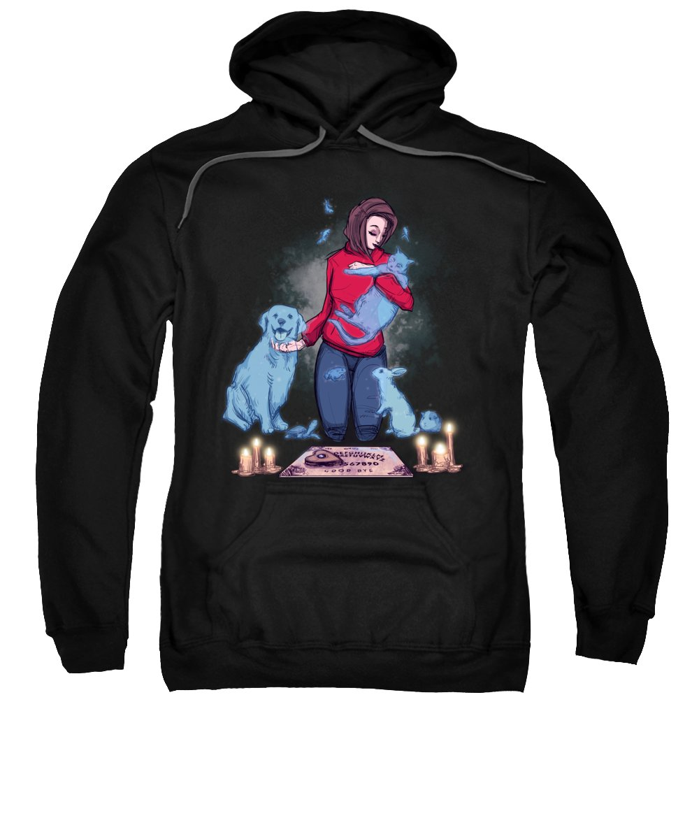 Cat Sweatshirt featuring the drawing Childhood Friends by Ludwig Van Bacon