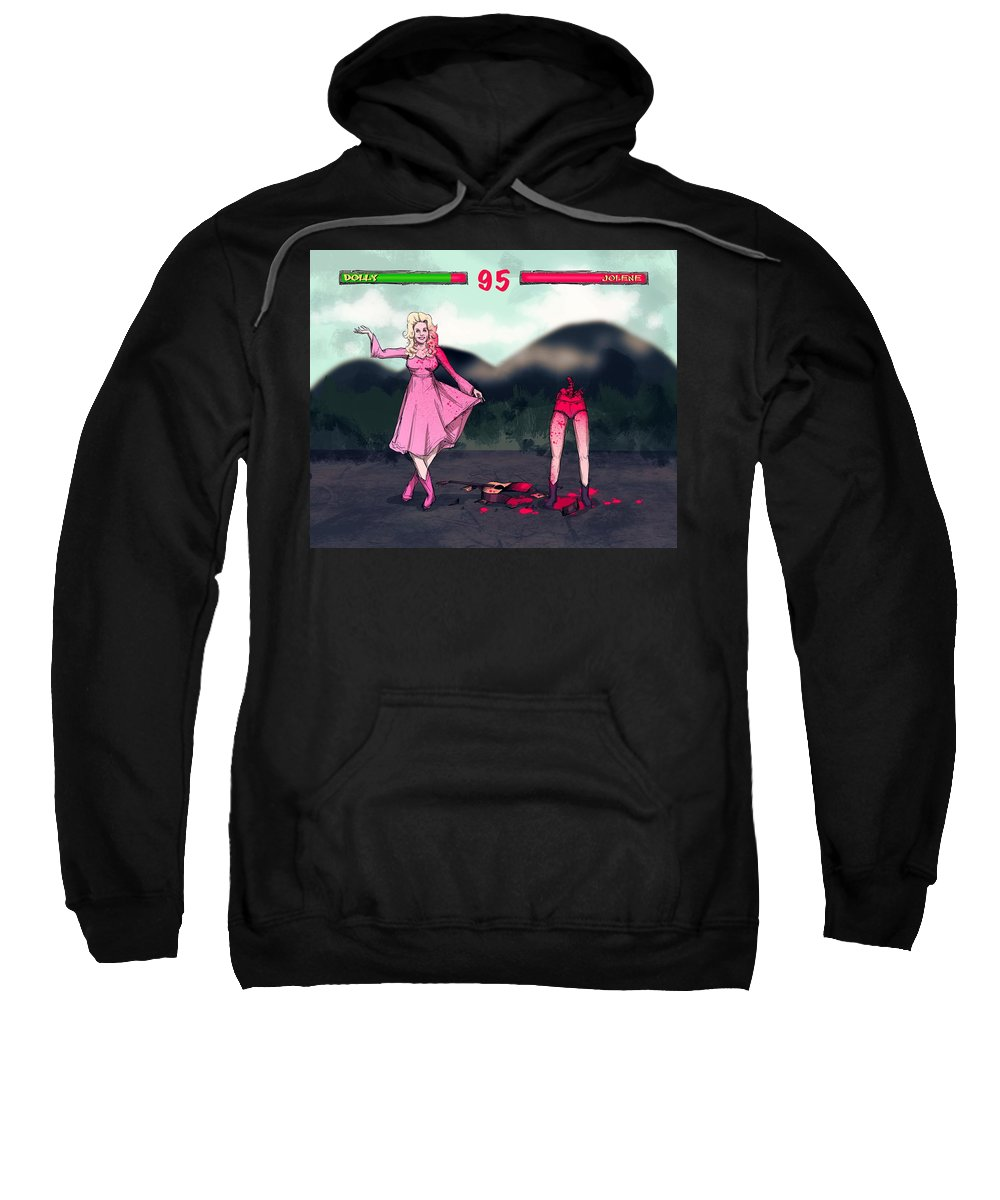 Dolly Sweatshirt featuring the drawing Country Combat by Ludwig Van Bacon