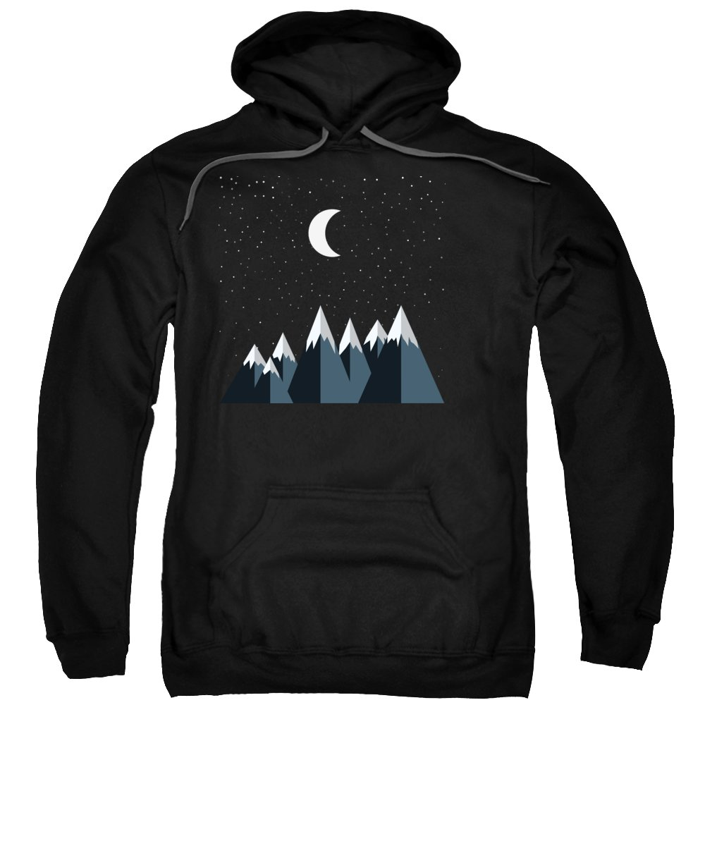Rocky Sweatshirt featuring the photograph Crescent Moon And Snow Capped Mountains by Pelo Blanco Photo