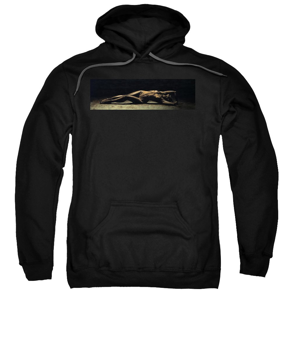 Nude Sweatshirt featuring the painting Desolation by Richard Young