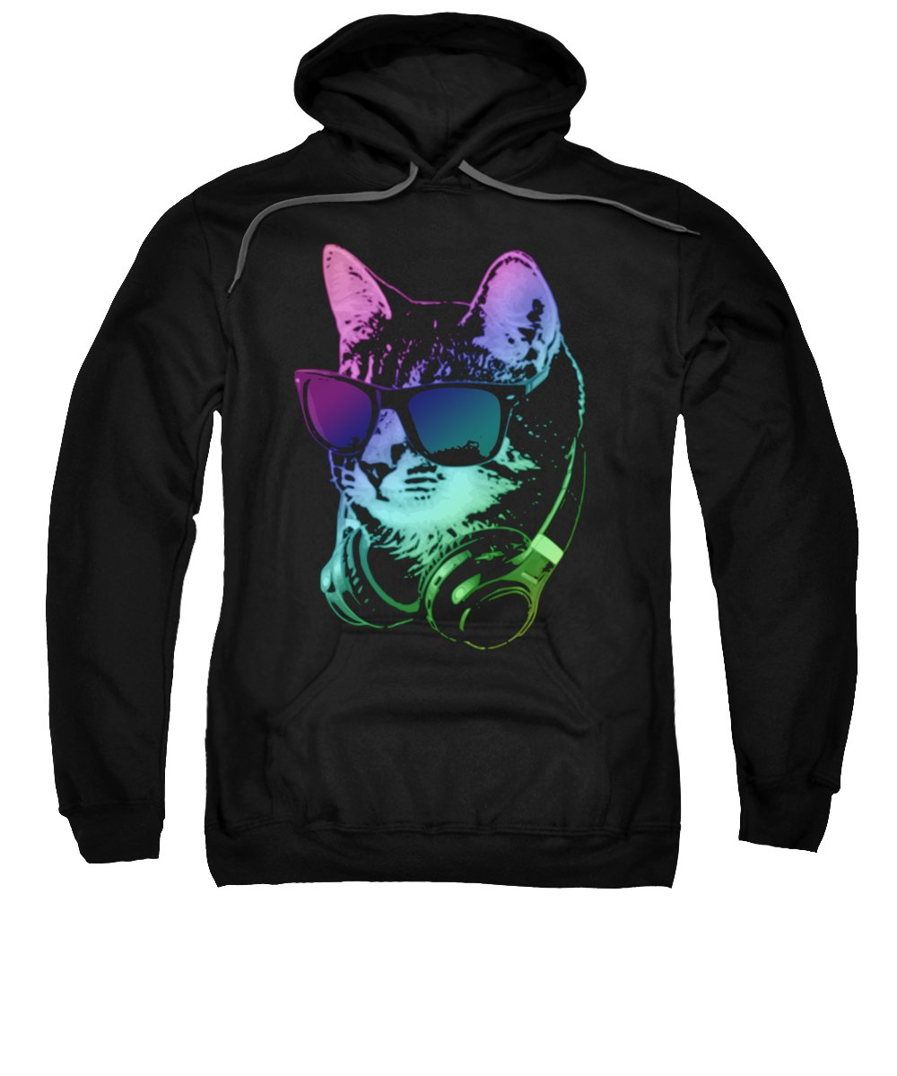 Cat Sweatshirt featuring the digital art Dj Cat In Neon Lights by Filip Hellman