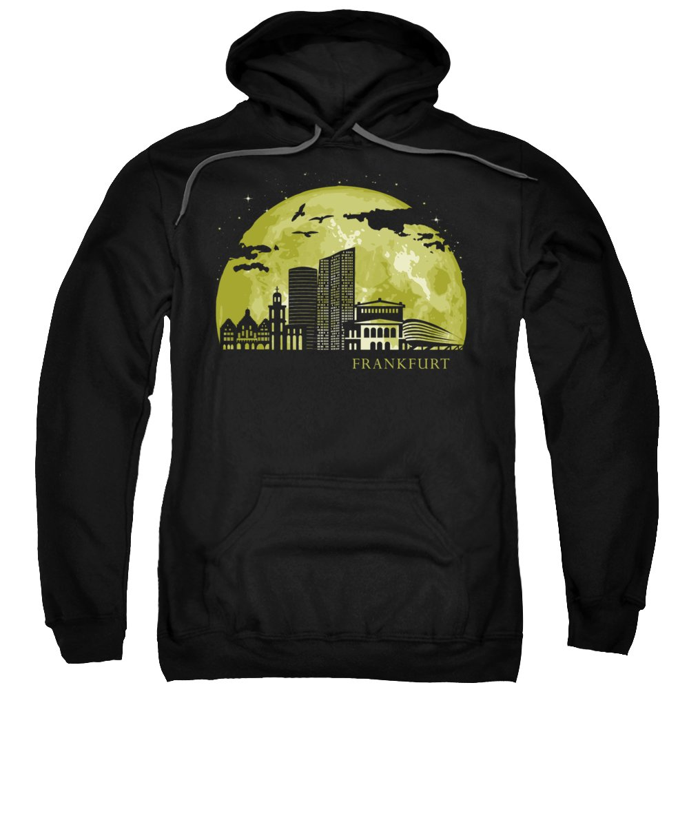 Frankfurt Sweatshirt featuring the digital art Frankfurt Moon Light Night Stars Skyline by Filip Hellman