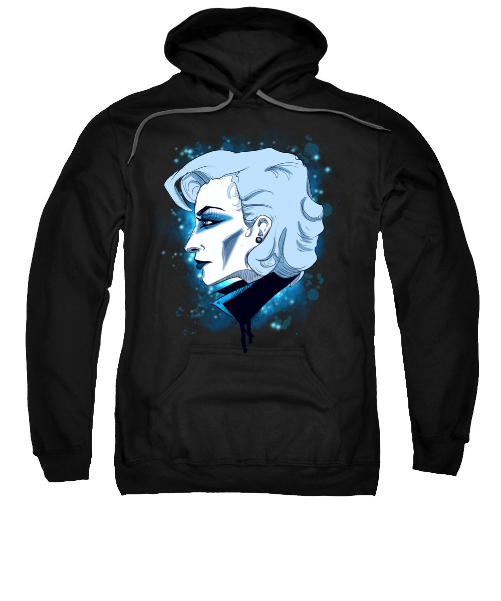 Lady Sweatshirt featuring the drawing Gaga by Ludwig Van Bacon