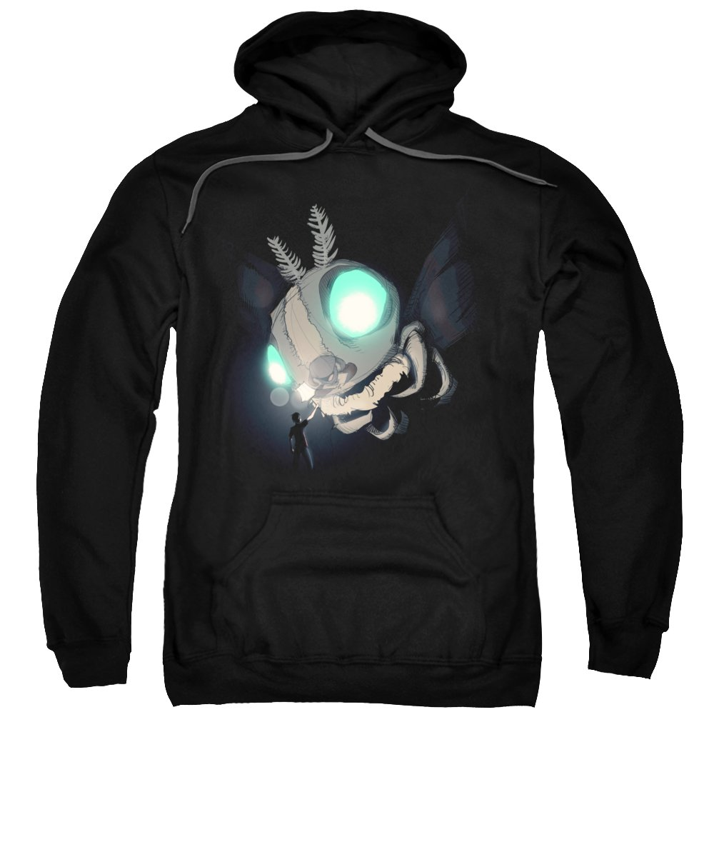 Monster Sweatshirt featuring the drawing Giant Moth Vs Lamp by Ludwig Van Bacon