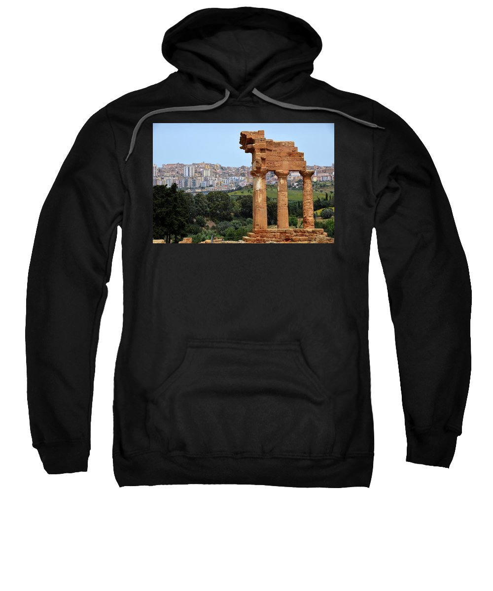 Temple Sweatshirt featuring the photograph Greek Temple Of Castor And Pollux And Modern City by RicardMN Photography