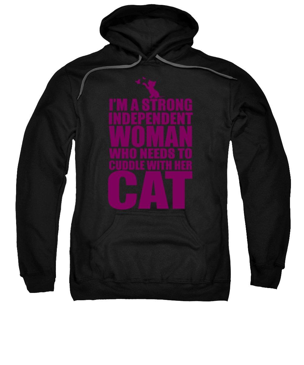 Independent Sweatshirt featuring the digital art Independent Woman Cat Cuddler by Passion Loft