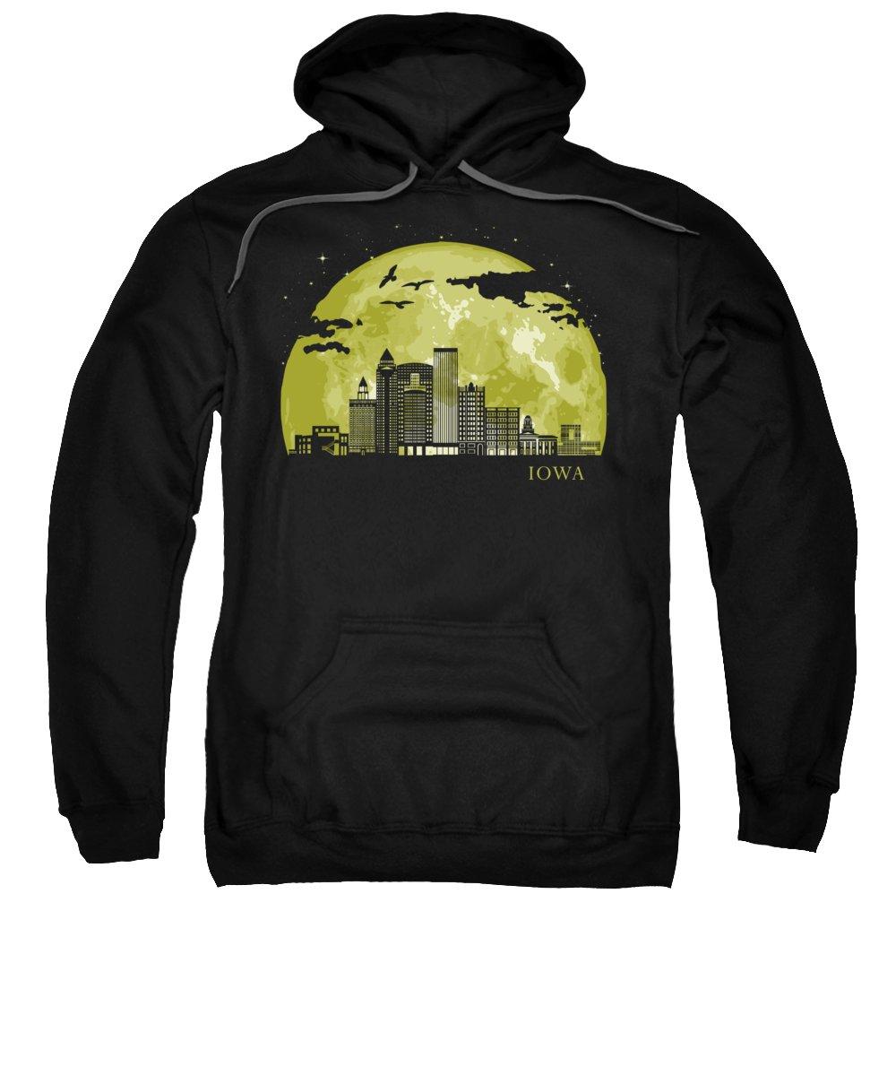Iowa Sweatshirt featuring the digital art Iowa Moon Light Night Stars Skyline by Filip Hellman