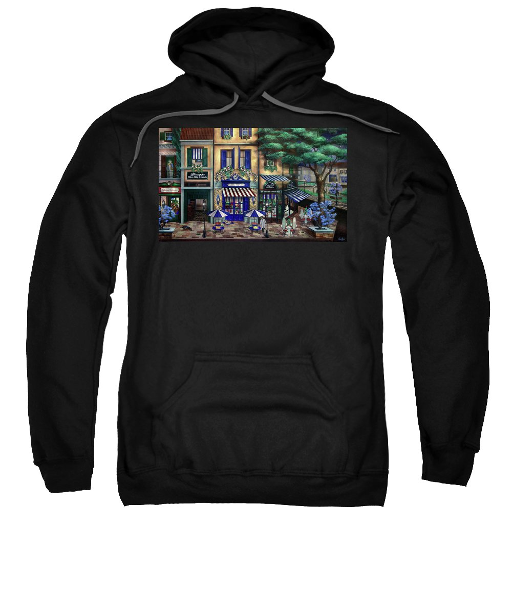 Italian Sweatshirt featuring the mixed media Italian Cafe by Curtiss Shaffer