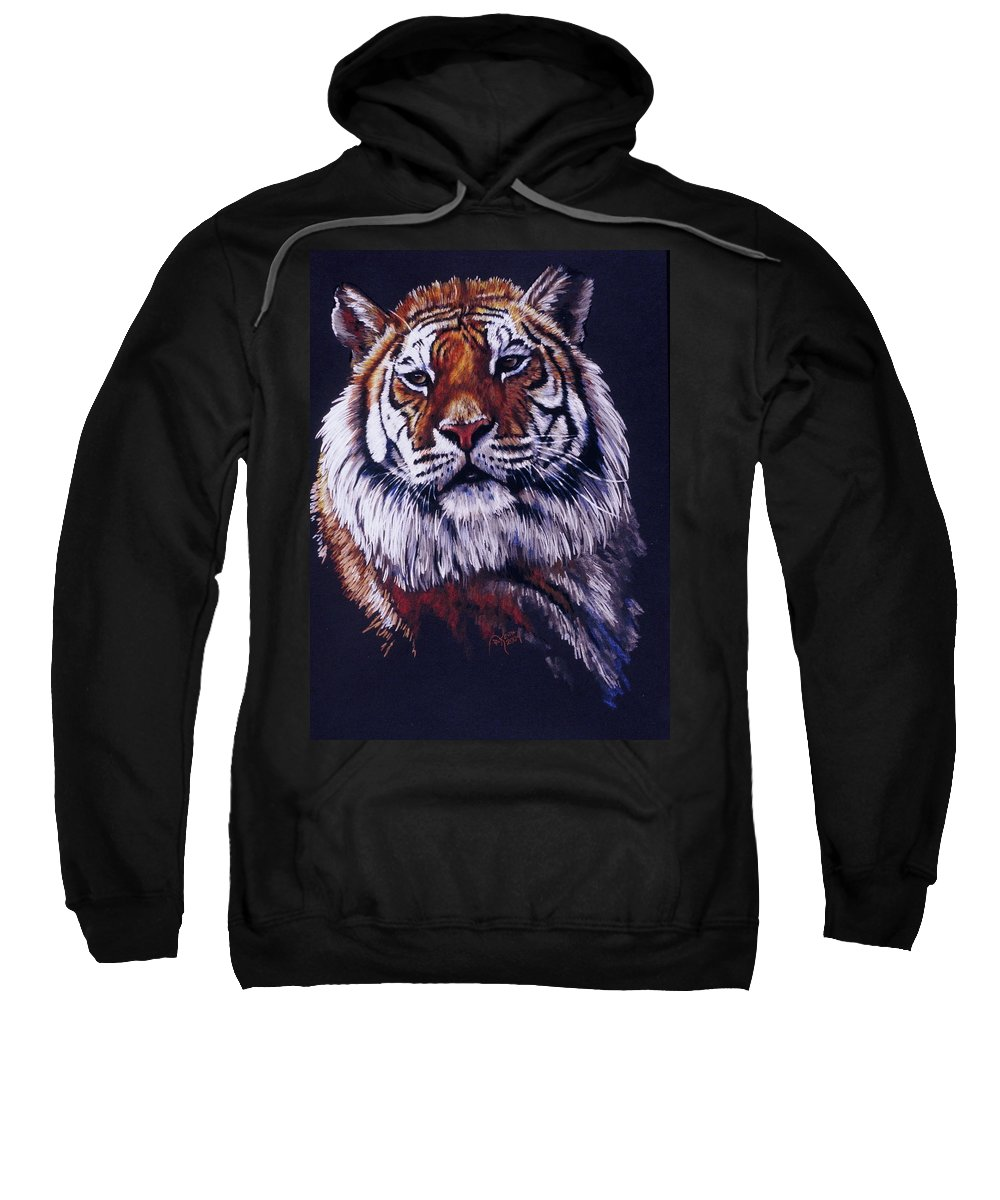 Tiger Sweatshirt featuring the drawing Jax in colored pencil by Barbara Keith