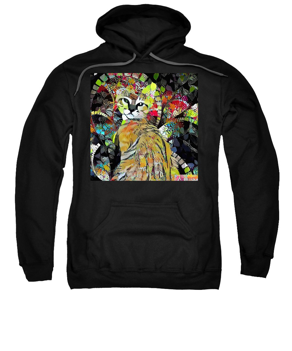 Abstract Sweatshirt featuring the digital art Kitten In Colorful Leaves by Bruce Rolff