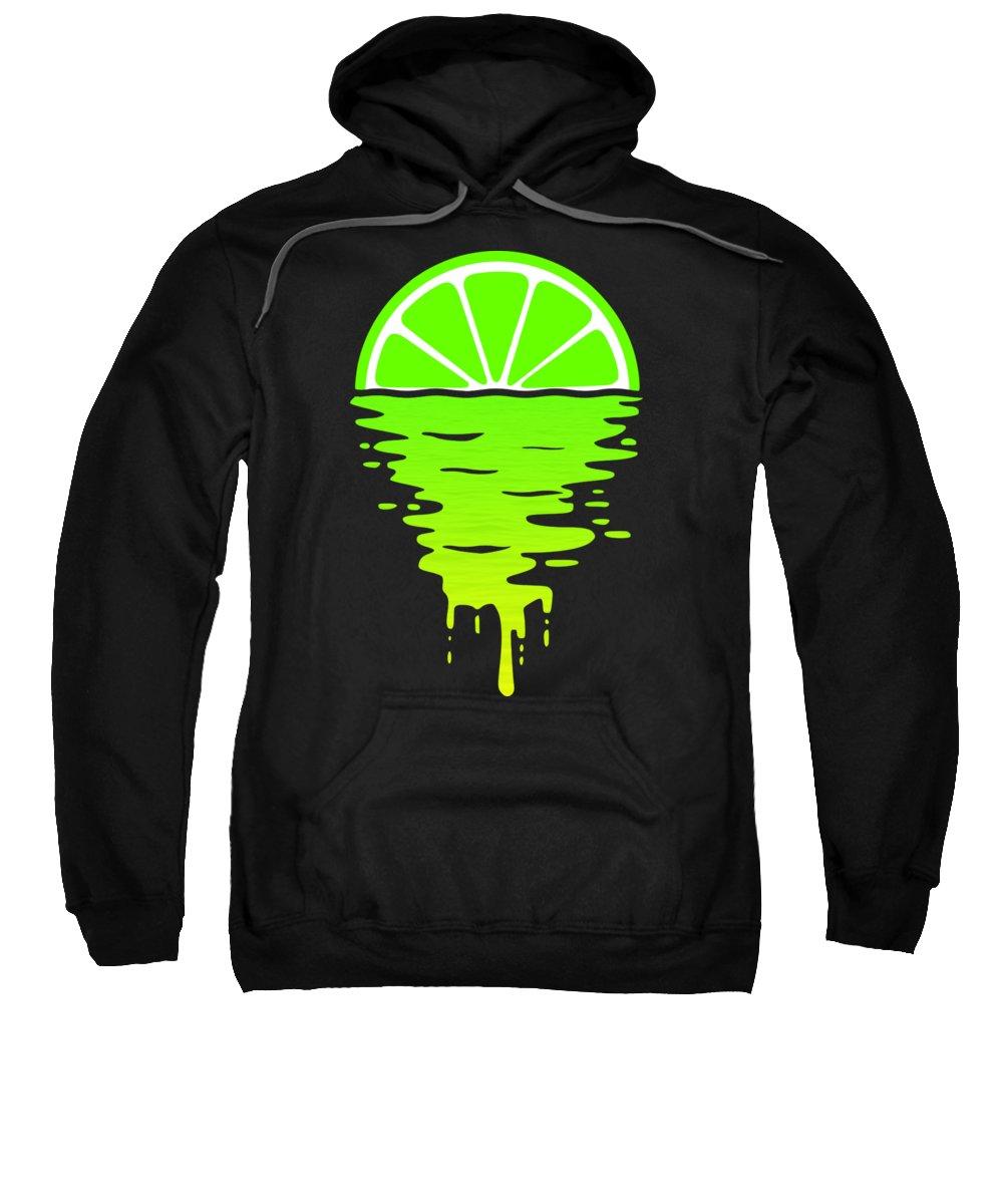 Lemon Sweatshirt featuring the digital art Lime Sunset by Filip Schpindel