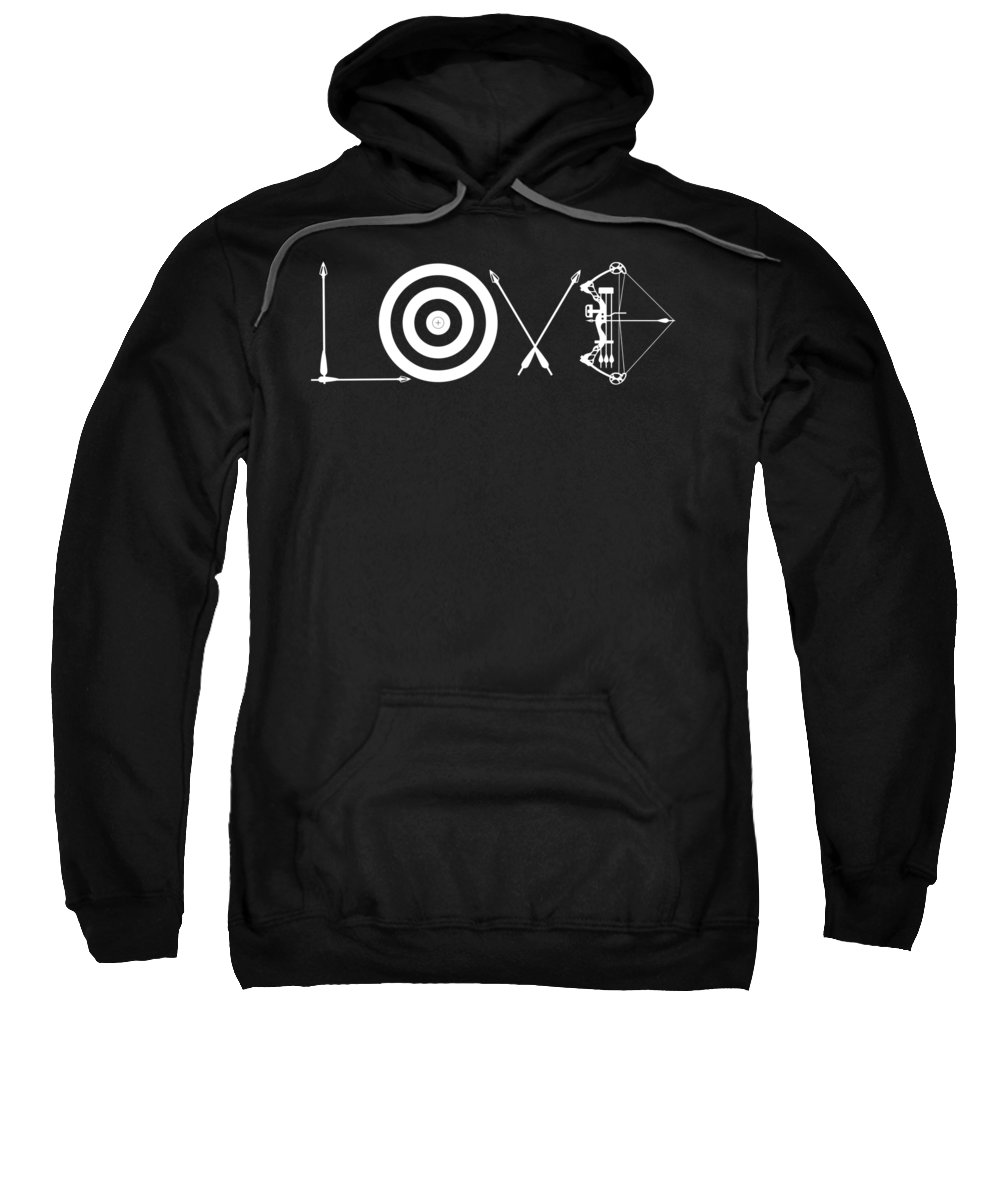 Love-archery Sweatshirt featuring the digital art Love Archery Made Of Arrows Target Bow by Passion Loft