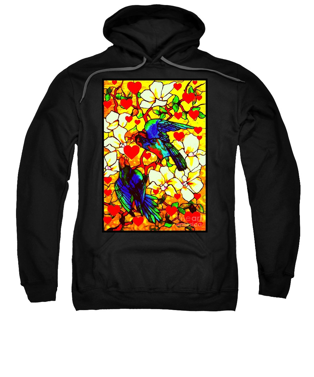 Parrot Sweatshirt featuring the glass art Love Birds In The Love Tree With Hibiscus by Peter Ogden Gallery