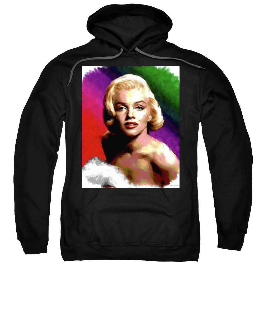 Marilyn Sweatshirt featuring the painting Marilyn Monroe painting by Stars on Art