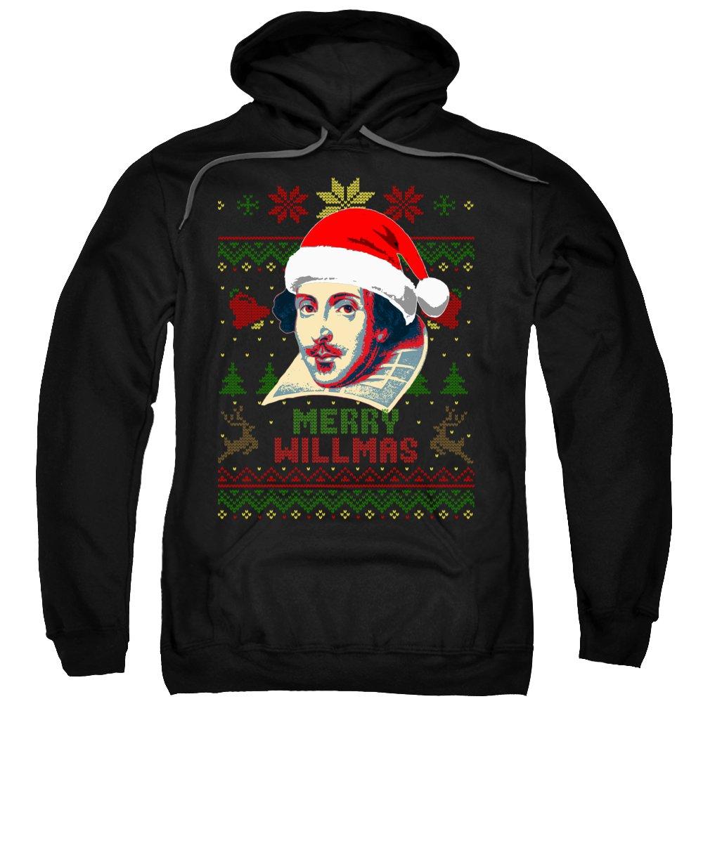Santa Sweatshirt featuring the digital art Merry Willmas William Shakespeare Christmas by Filip Schpindel
