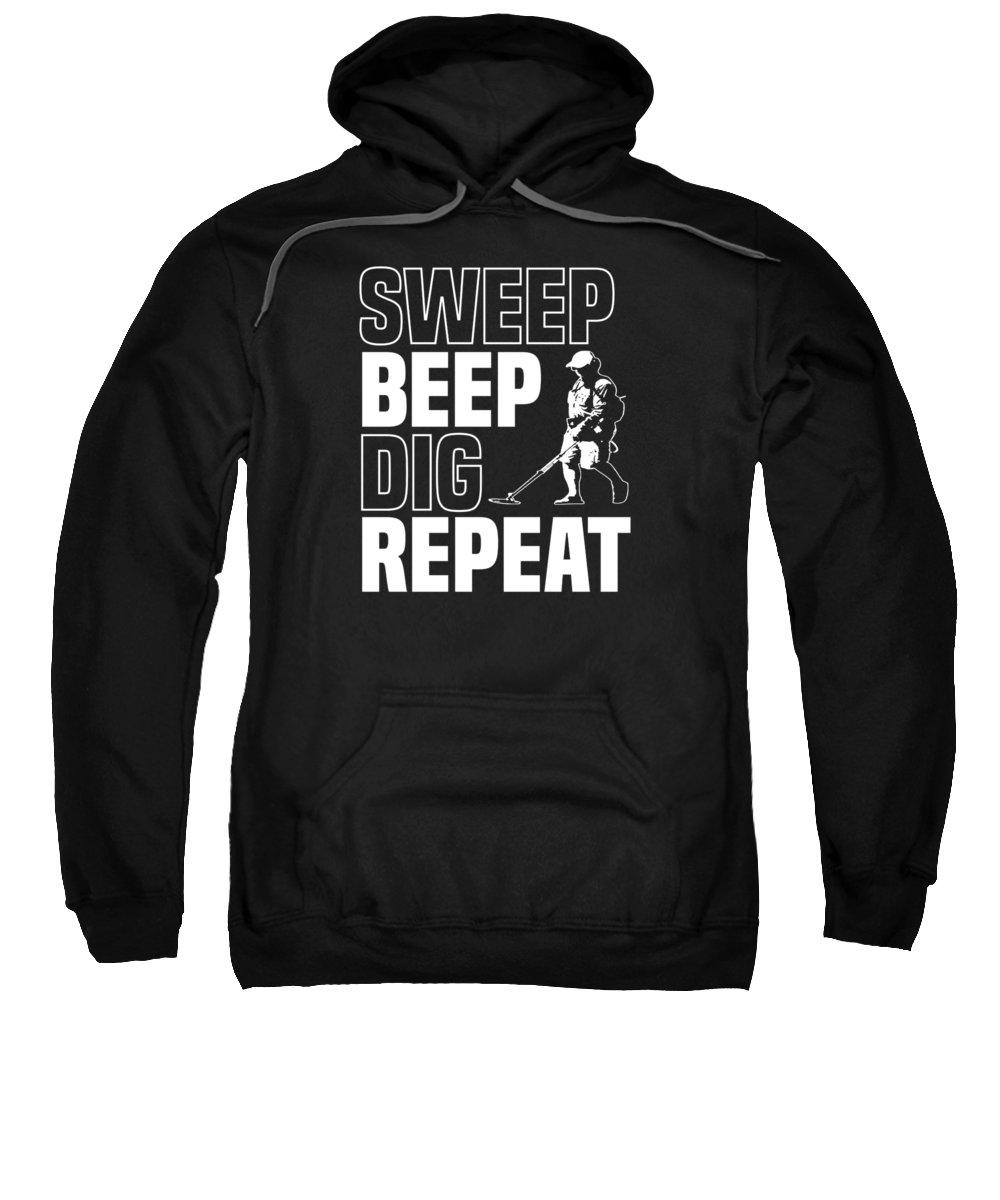 Beach-dig Sweatshirt featuring the digital art Metal Detector Beach Pun Apparel by Michael S