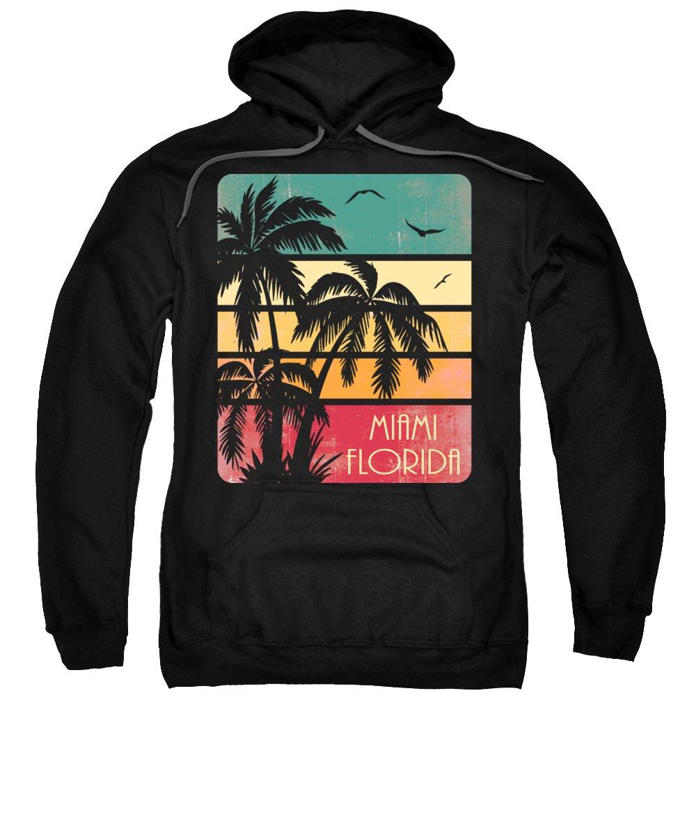 Miami Sweatshirt featuring the digital art Miami Florida Vintage Summer by Filip Schpindel