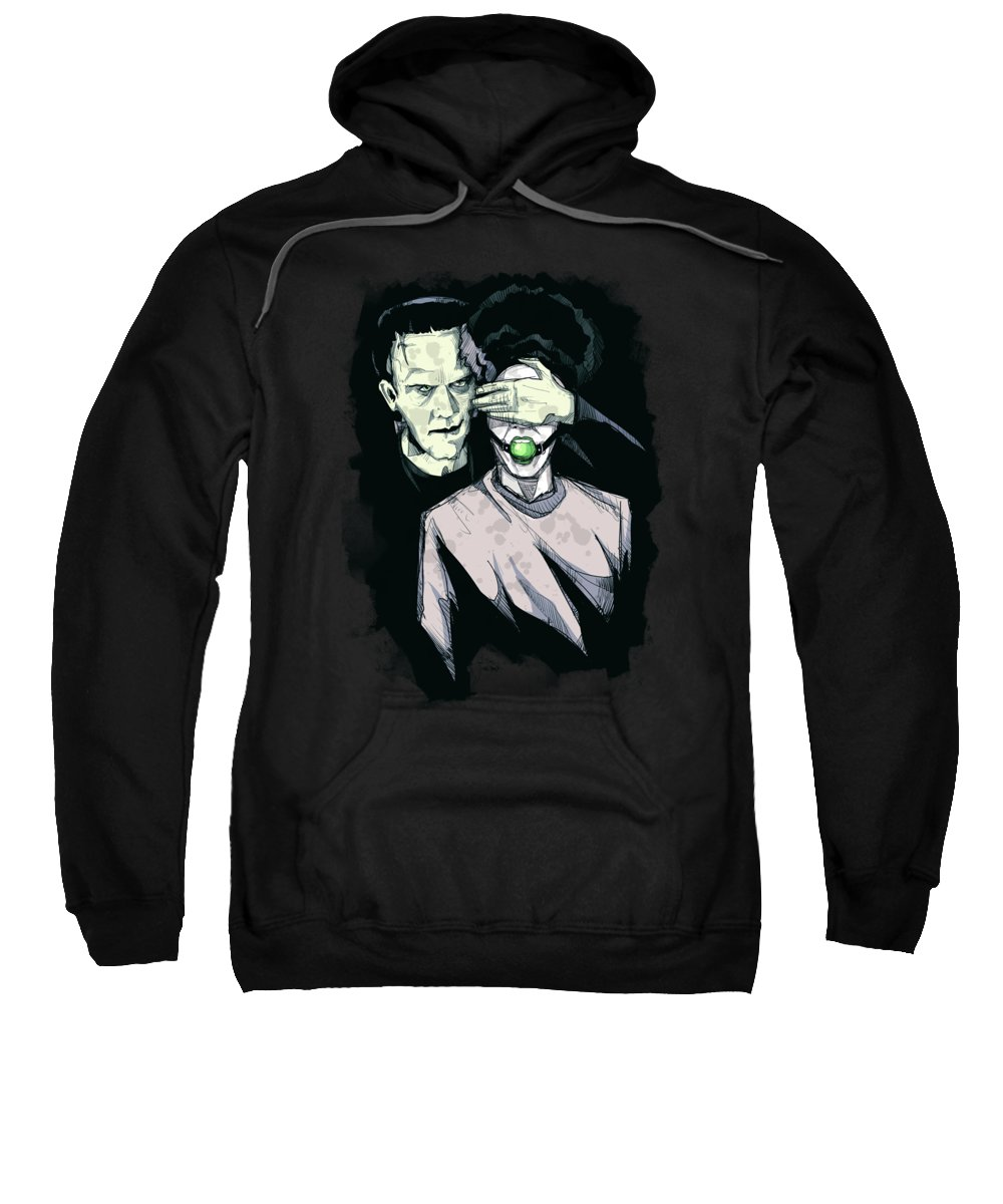 Monster Mash Sweatshirt featuring the drawing Monster Mash by Ludwig Van Bacon
