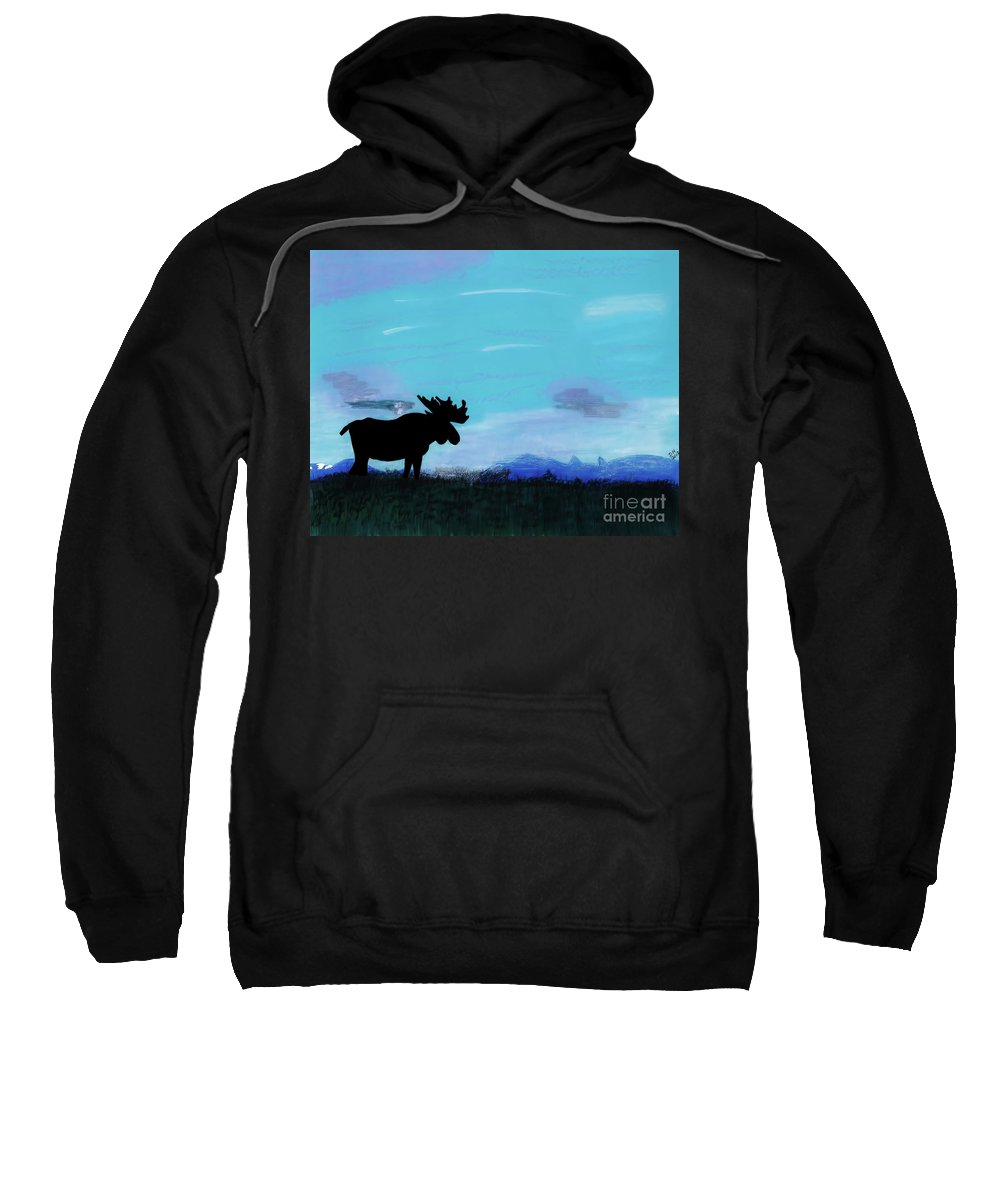 Sunset Sweatshirt featuring the drawing Moose - At - Sunset by D Hackett