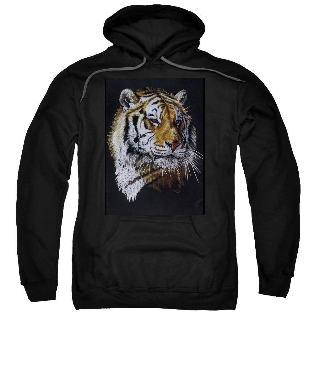 Panthera Sweatshirt featuring the drawing Nanook the Tiger by Barbara Keith