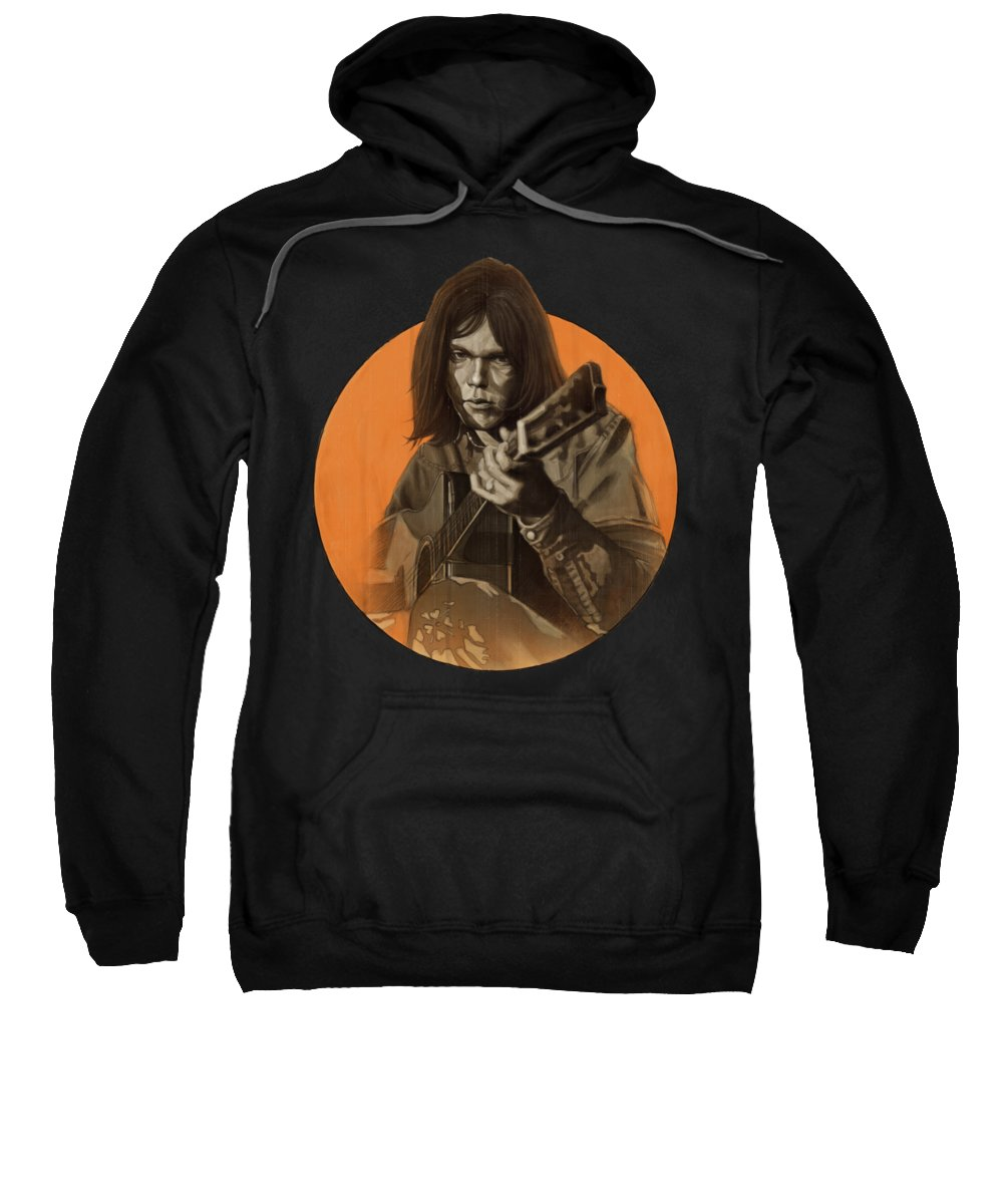 Neil Young Sweatshirt featuring the digital art Neil Young Harvest by Andre Koekemoer