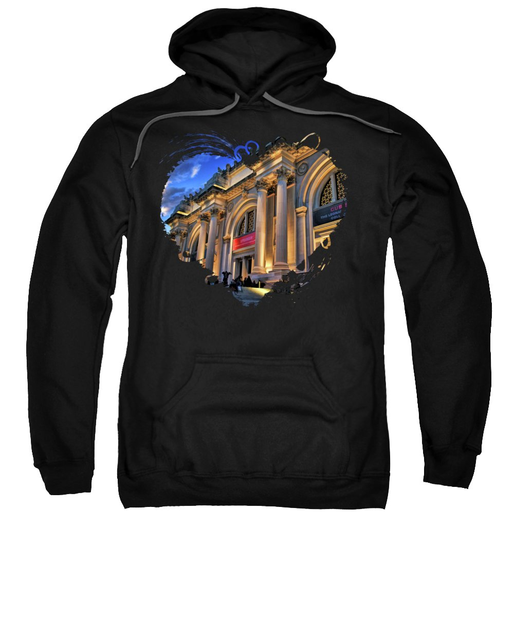 New York Sweatshirt featuring the painting New York City Metropolitan Museum Of Art by Christopher Arndt