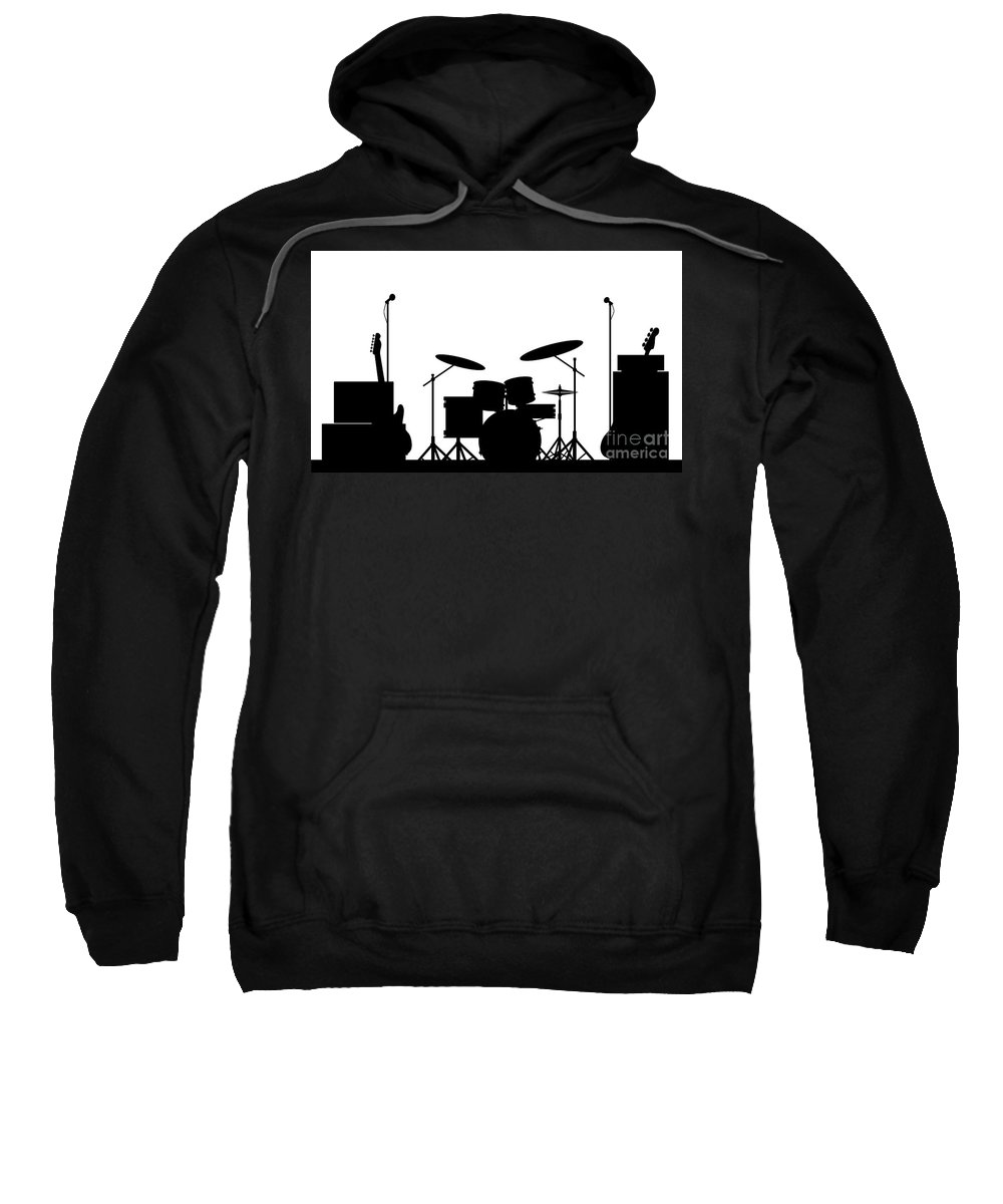 Rock Band Sweatshirt featuring the digital art Rock Band Equipment Silhouette by Bigalbaloo Stock