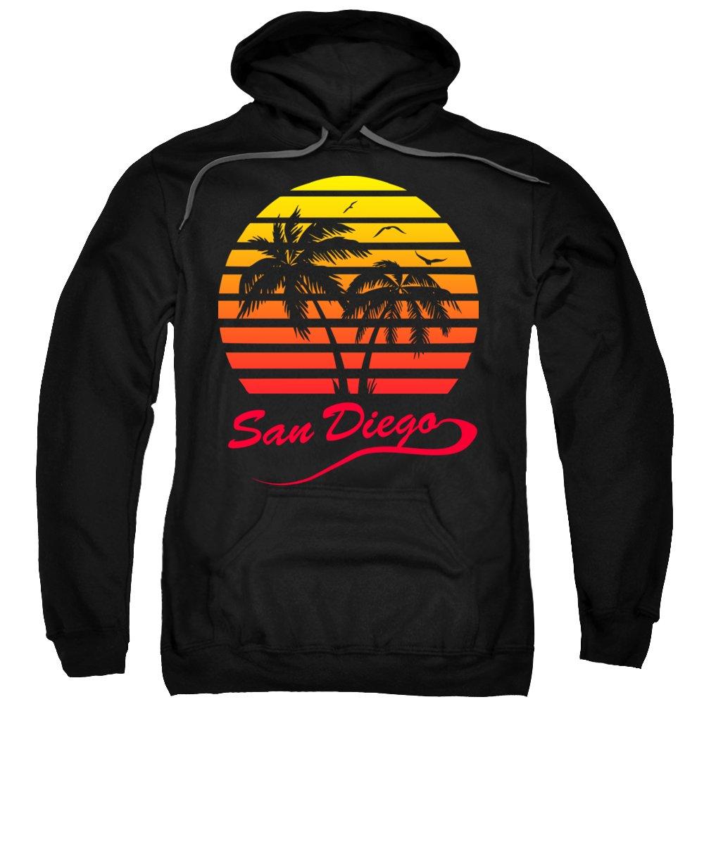Sunset Sweatshirt featuring the digital art San Diego Sunset by Filip Schpindel