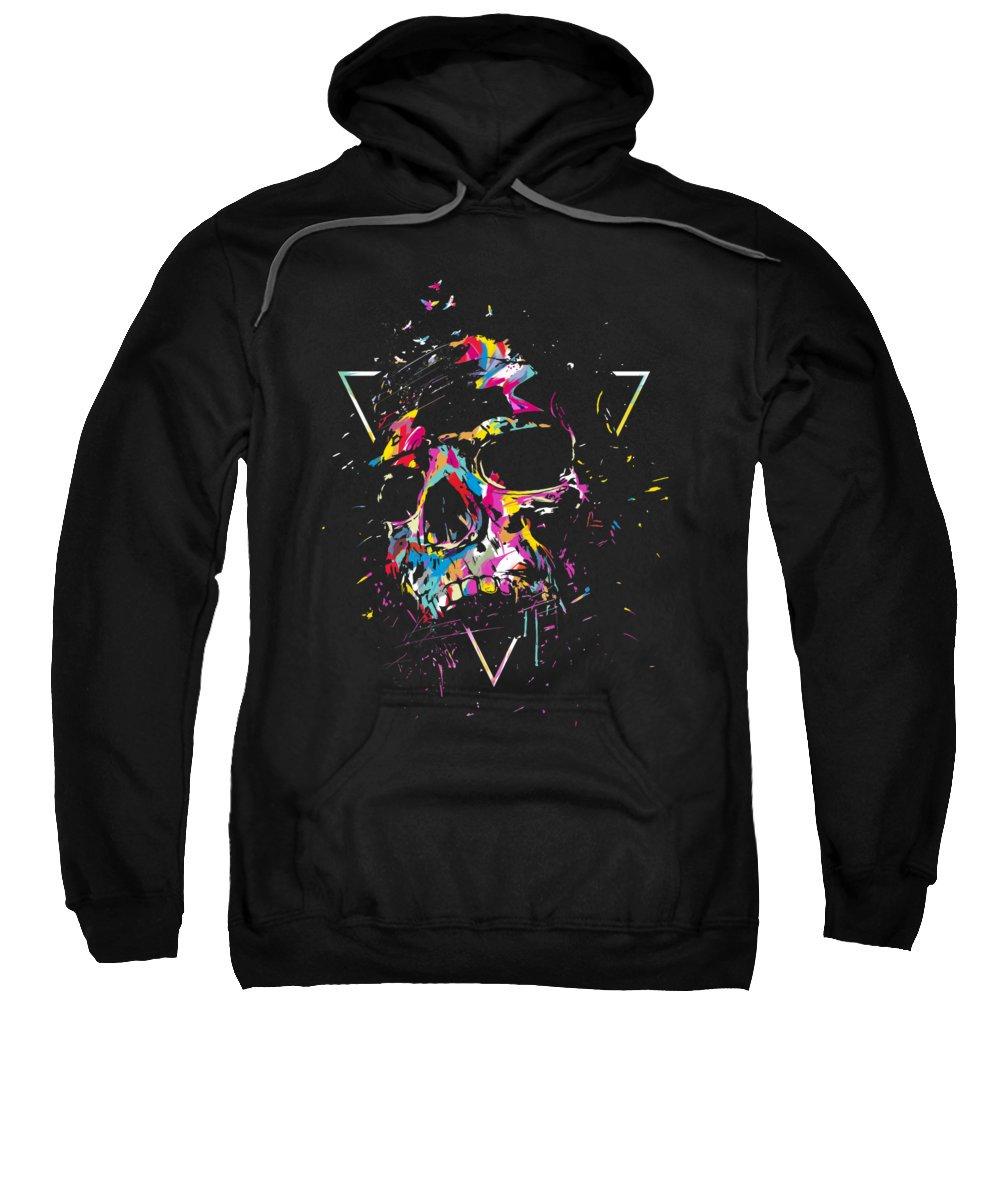Skull Sweatshirt featuring the mixed media Skull X by Balazs Solti