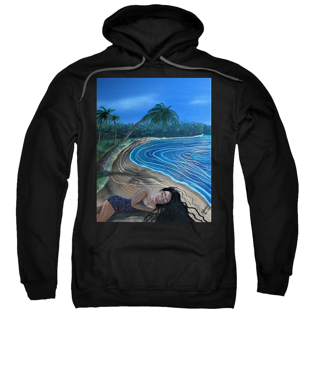 Palm Tree Sweatshirt featuring the painting Sleeping Beauty by Joan Stratton